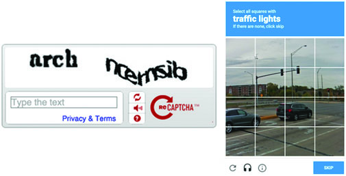 recaptcha text inputs and object id